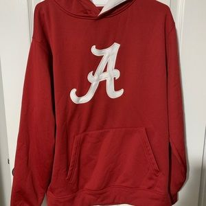 Red and white long sleeve Alabama hoodie